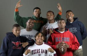 From left, they are Darius Johnson, SMU; Kelvin Jackson, Navy; A.J. Highsmith, Miami; Colton Valencia, Texas A&M; Phillip Steward, UH; Dele Junaid, Mississippi; and Alex Francis, Rice. (Brett Croomer/Chronicle)